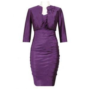 Adrianna Papell Criss Cross Pleated Dress - Sz. 12